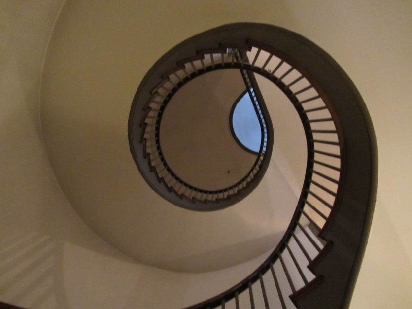 Free standing spiral staircase in the dining room building
