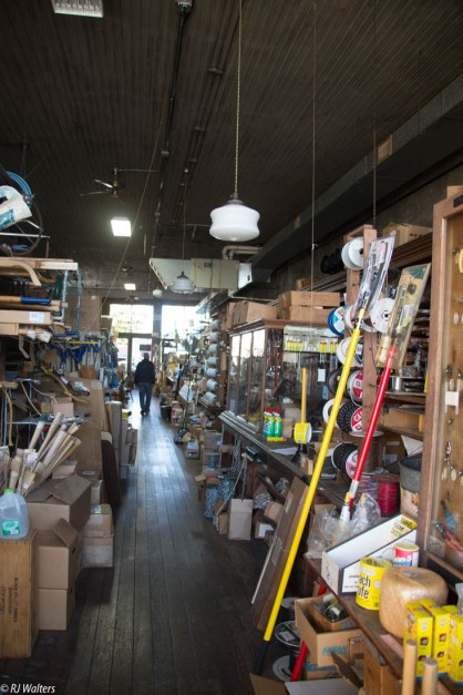 An old time hardware store. It hard to believe it is still opened.