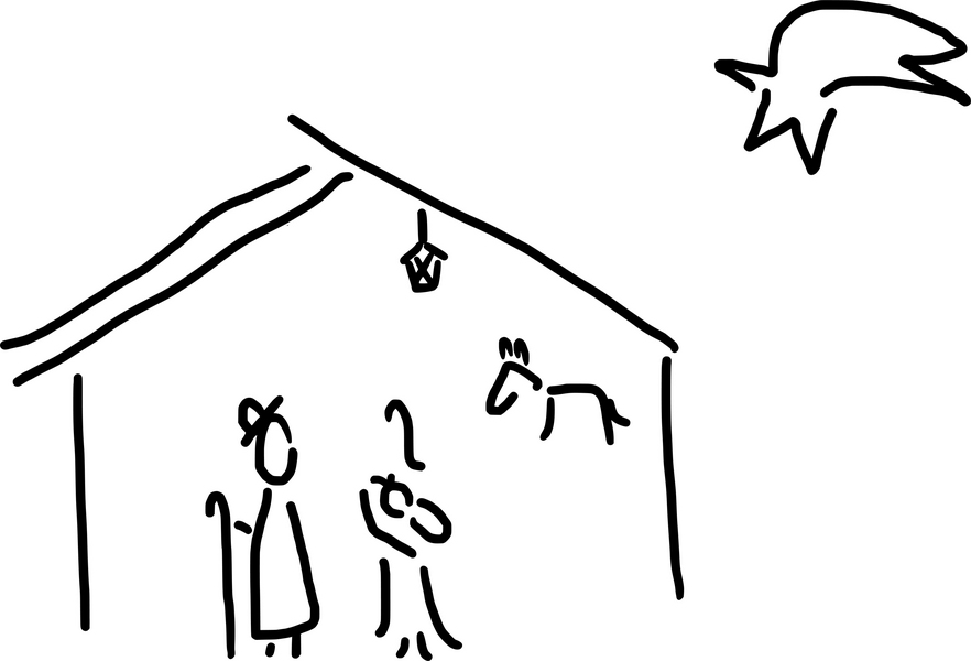 Jesus in the creche with Mary and Joseph